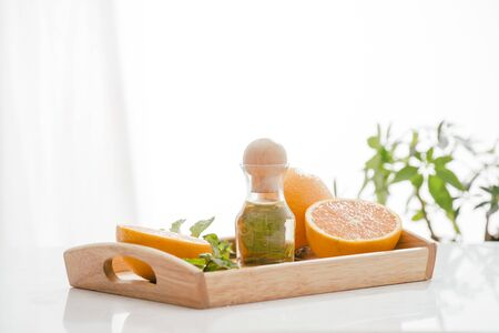 Citrus fruit vitamin c serum oil beauty care, anti aging natural cosmetic. essence, aromatherapy. Archivio Fotografico - 127137299