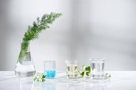 Equipo de vidrio de laboratorio con ingredientes naturales sobre fondo blanco. Foto de archivo