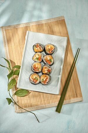 Korean roll Gimbap(kimbob) made from steamed white rice (bap) and various other ingredients Banco de Imagens