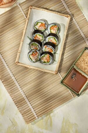 Korean roll Gimbap(kimbob) made from steamed white rice (bap) and various other ingredients Stock Photo