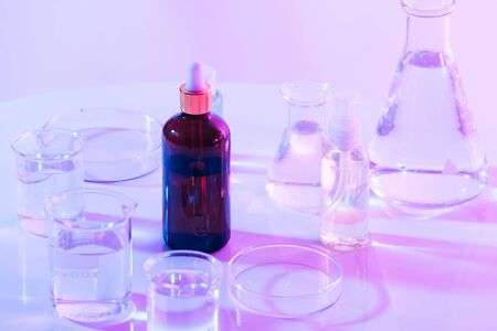 flask of water olution in science laboratory background