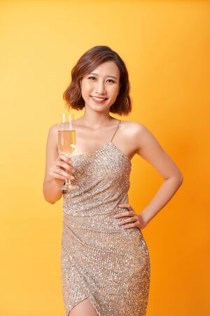 Fashion Model Gold Dress, Woman in Beauty Golden Gown with Champagne, Lady in Long Clothes