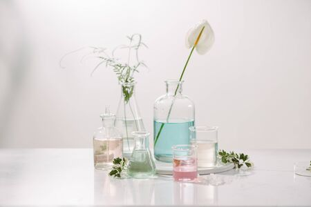 Laboratory experiment and research with leaf,oil and ingredient extract for natural beauty and organic cosmetic skincare product the blank bottle for label science concept. alternative medicine. spa. Stock Photo
