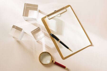 White Desktop. Mock up product view table gold accessories. stationery supplies. glamour style. Gold stapler 写真素材