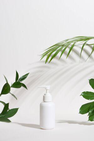 Bouteille cosmétique blanche vierge avec une feuille tropicale isolée sur fond blanc Banque d'images