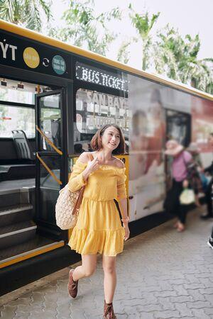 Passengers leave the city bus Reklamní fotografie