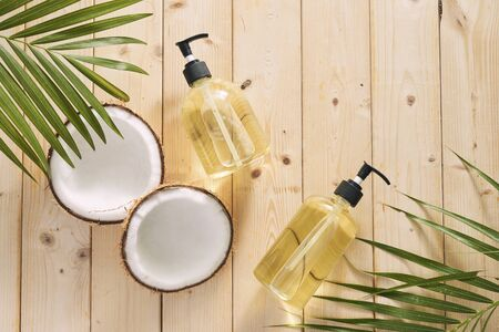 Homemade cosmetics coconut oil and lemon acid.