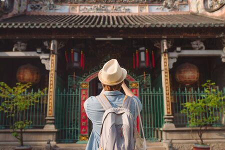 Traveler at Thien Hau Pagoda, dedicated to the Chinese sea goddess Mazu , in Cholon, the Chinatown area of Saigon Stock fotó