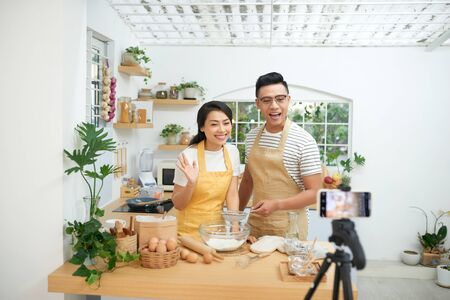 Couple making dough together, baking and cooking concept rustic style photo for cook book and cook blog Zdjęcie Seryjne