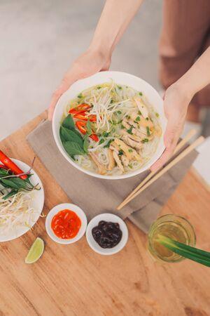 Asian dinner with vietnamese noodle soup pho bo, Stok Fotoğraf