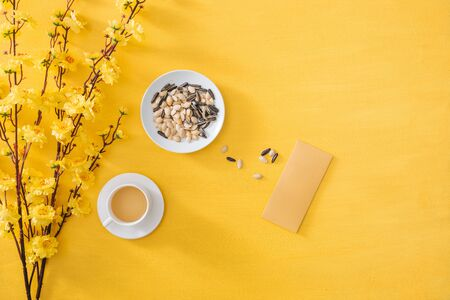 Chinese New Year decoration on a yellow gold background
