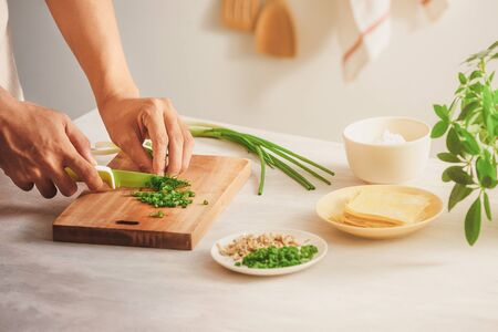 Wrapping Wonton and raw ingredients isolated at kitchen