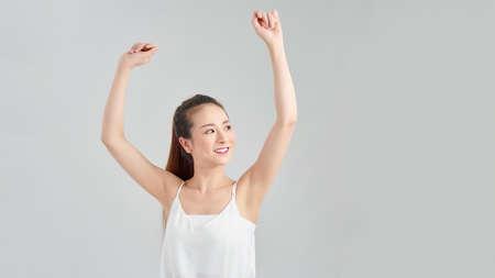 An Asian dance girl in white background 免版税图像