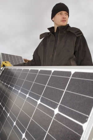 man build solar collector 03 Stock Photo - 14591441