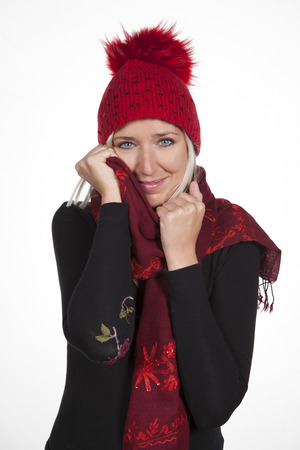Woman with hat and scarf 01 Stock Photo