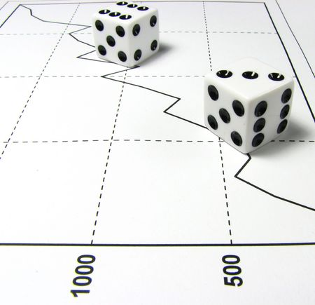 Two white dices over a increasing graph of white background Stock Photo