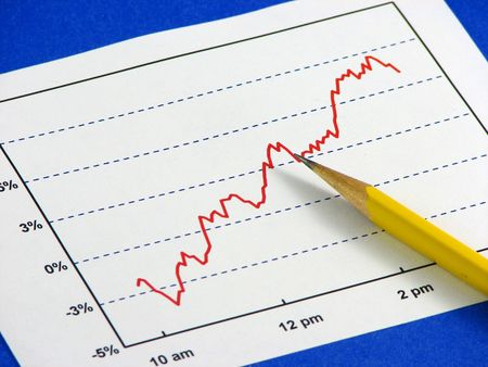 A yellow pencil over a red line graph of increasing trend on top of a blue background. Stock Photo