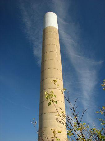 tall chimney: tall chimney under a deep blue sky