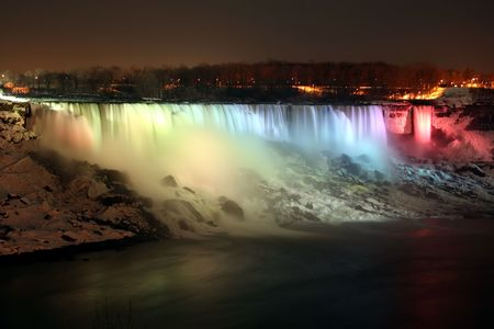 Niagara Falls at night in the winter- american falls photo