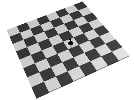 loneliness: lone black pawn on a chess board
