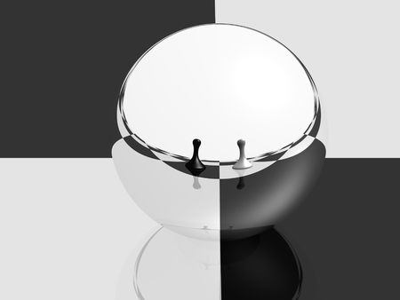 sphere with mirror surface reflecting two pawns on a chess board photo