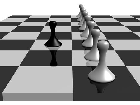 a black pawn facing several white pawns in a chess board photo