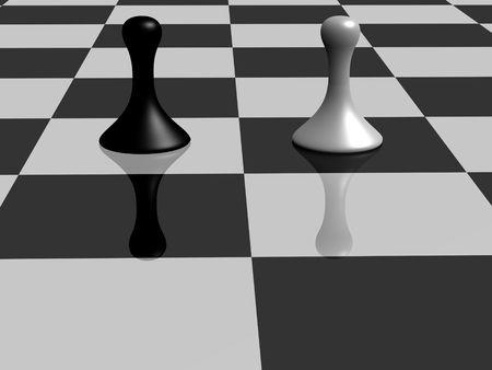 a black pawn facing several white pawn photo