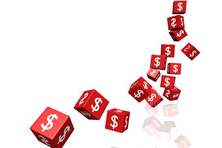several flying red dice with currency symbol on their faces Stock Photo
