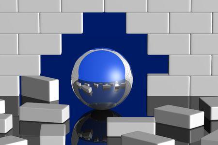 breaking through: bola con romperse superficial del espejo a trav�s de una pared blanca