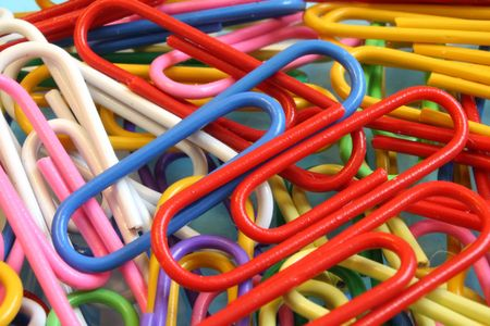 paper clip: close up on colored paper clips