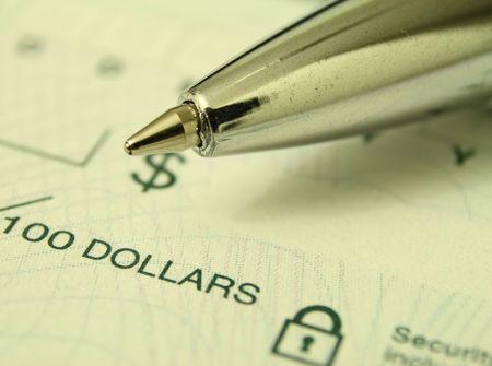 pen over a cheque