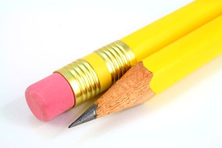 the tip and the eraser of an yellow pen isolated on white Stock Photo - 2331467