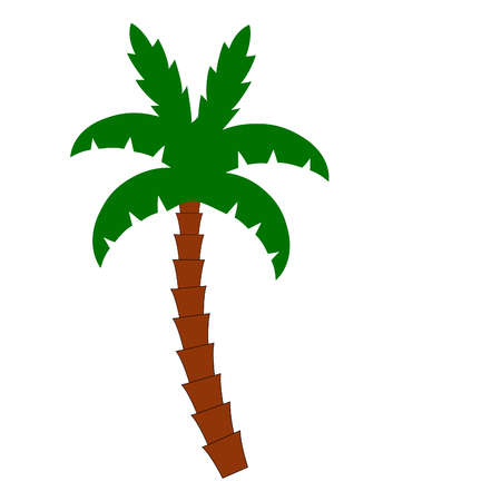 single palm three on white Vector