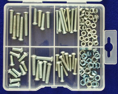 organizer with several nuts and screws of different sizes Stock Photo - 2482569