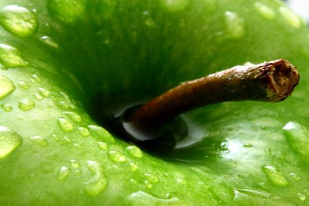 close up on a green apple with water drops photo