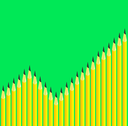 vector bar graph formed by yellow pencils Vector
