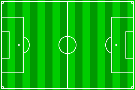 terrain: vector illustration of a soccer field with green stripes Illustration