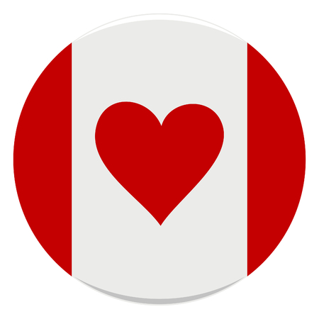 vector illustration of icon of canadian flag with heart instead of leaf Stock Vector - 2512835