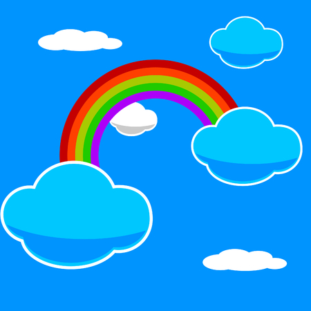 vector illustration of a rainbow in a blue sky Vector