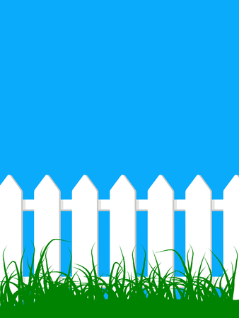 vector illustration white wood fence on a grass field under clear blue sky