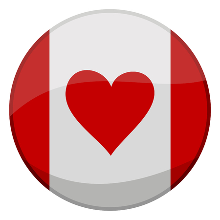 vector illustration of a glossy icon of a canadian flag with a heart instead of leaf Vector
