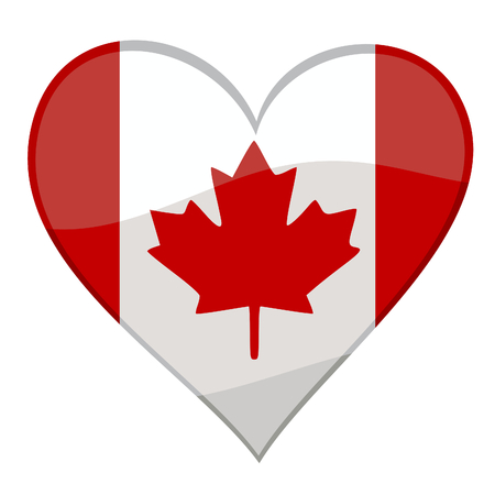 vector illustration of a glossy icon of a canadian flag in form of a heart Vector