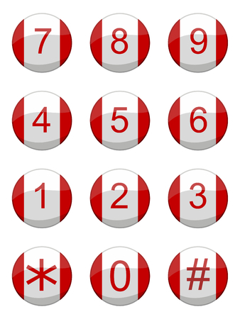 vector illustration of a set of shiny buttons of a keypad
