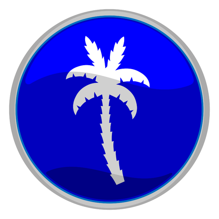 vector illustration of a glossy icon of a palm tree Vector
