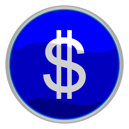 Vector illustration of a glossy icon of a dollar sign Vector