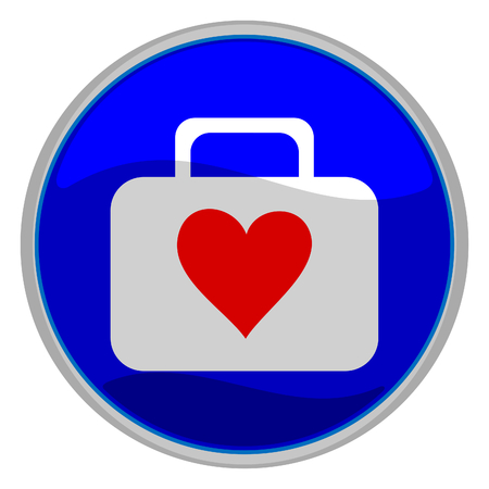 Vector illustration of a glossy icon of a suitcase with a red heart on it