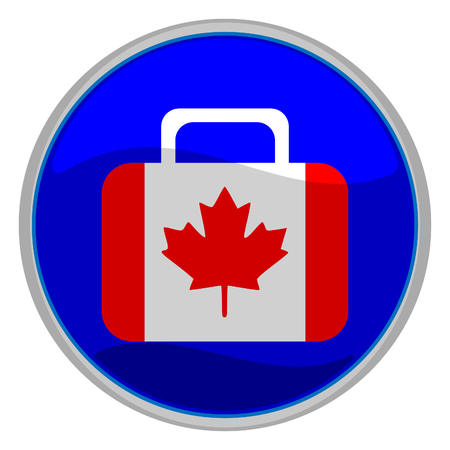 Vector illustration of a glossy icon of a suitcase in the form of the canadian flag Vector