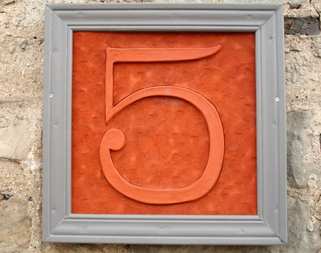 house number five Stock Photo