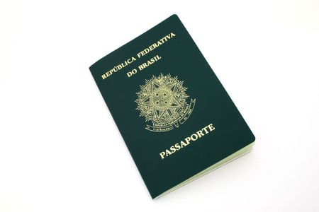 brazilian passport over a white surface Stock Photo