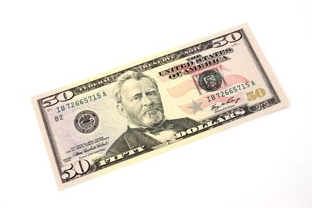 fifty dollar bill: fifty dollar bill over a white surface Stock Photo